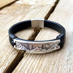 Mountain bracelet, Nature leather bracelet, Nature trees  moon and mountains on sterling silver genuine black leather bracelet, gift for dad