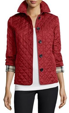 Burberry Brit Ashurst Classic Modern Quilted Jacket, Parade Red - $595.00