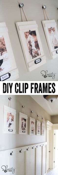 Me encantó, Love it, with the picture and frame and then a hook to put the things when they get home like the backpack. SIMPLE Clip Frame Tutorial by So cheap too! Hanging Frames, Diy Hanging, Hanging Photos, Hanging Pictures On The Wall, Diy Clip Frame, Cadre Photo Diy, Diy Photo, Photo Art, Cheap Home Decor
