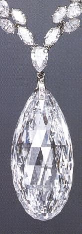 The Briolette of India is a colorless diamond weighing 90.38 carats. The diamond has been in the possession of many historical figures including Eleanor of Aquitane, Richard I of England and Diane de Portiers. It was known to be in the possesion of Catherine of Medici when it disappeared for 400 years. In 1950 it reappeared when it was bought by the jeweller Henry Winston from an Indian Maharajah. It is now believed to be in the possesion of an unknown European family.