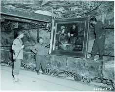 Allied troops in 1945 discovered art looted by the Nazis and stored in a salt mine near the German village of Merkers. Among the paintings:?Manet's In the Winter Garden (Photo: National Archives). #Monuments Men