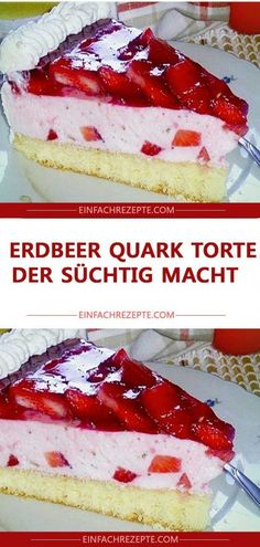 Erdbeer Quark Torte , der süchtig macht 😍 😍 😍 Strawberry curd cake that makes you addicted 😍 😍 😍 Raspberry Smoothie, Apple Smoothies, Baking Wallpaper, Strawberry Cake Recipes, Salty Cake, Limoncello, Food Cakes, Savoury Cake, Mini Cakes