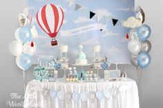 Blue and White Hot Air Balloon Birthday Party | Kara's Party Ideas