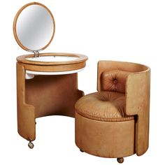Vanity and chair, Poltrona Frau, Designer Luigi Massoni 1969