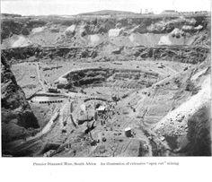 Historyczne zdjęcie przedstawiające kopalnię Premier w RPA, w której wydobyto Cullinana, czyli największy jak do tej pory znaleziony diament.