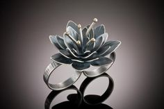 Double Flower Ring, oxidized silver & 14k gold by Molly Dingledine