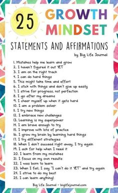 25 Growth Mindset Statements and Affirmations 25 Growth Mindset Statements and Affirmations,social skills 25 Growth Mindset Statements and Affirmations – Big Life Journal Related posts:Social Emotional Learning Shirt / Counselor Shirt / Teacher Shirts. Social Emotional Learning, Social Skills, Motivation Positive, Positive Mindset, Motivation For Kids, Positive Self Talk, Positive Outlook, Positive Vibes, Education Positive