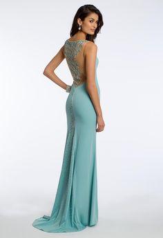 Crepe Illusion Bead Prom Dress #camillelavie #CLVprom