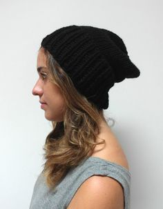 hand knit SLOUCH HAT / thick knitted warm hat / by purlknitting