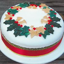 holly and ivy christmas cake by Church Farmhouse Cakes.  More ideas for using Purple Butterfly Cake Toppers holly and ivy decorations. http://stores.ebay.co.uk/Purple-Butterfly-Cake-Toppers