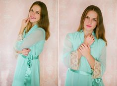 One custom elegant lace trimmed chiffon robe. Bridal lace robe. Mint green  robe. Bridal lingerie. Long bridal robe with train ff89b9436