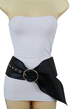 c6044b3deb6 Trendy Fashion Jewelry Women Fashion Wide Belt High Waist Hip Faux Leather  Fancy Modern Long S M Black