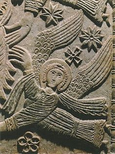 Carved angel on a stone altar of the Lombard King Rachis, VIII century. The Long Bards originally came from the south of Sweden, established themselves in Italy and named the region they settled in Lombardy. to the region of Lombardy. Order Of Angels, Angels Among Us, Angel Hierarchy, High Middle Ages, Angel Art, Ancient Artifacts, Medieval Art, Sacred Art, Stone Carving