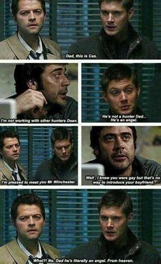 I am AGAINST Destiel and Wincest but this is hilarious. Dean and John Winchester, Castiel<<<<how the hell are you against destiel they are an amazing could be couple Supernatural Destiel, Supernatural Series, Dean And Castiel, Sam Dean, Supernatural Imagines, Supernatural Bloopers, Supernatural Tattoo, Supernatural Pictures, Supernatural Wallpaper