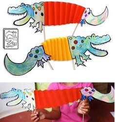 Easy folded paper crafts for kids. Crocodiles-from-the-Nile Kids Crafts, Arts And Crafts, Craft Kids, Art Crocodile, Paper Toys, Paper Crafts, Diy Y Manualidades, Creative Workshop, Crocodiles