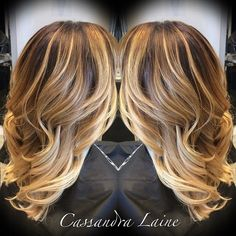 Blond and lowlights with long layers