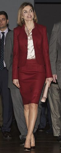 ueen Letizia opted to repeat a crimson red Felipe Varela skirt suit, first debuted in December 2008 and worn frequently since then. nov 2015