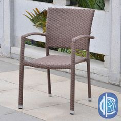 @Overstock.com - International Caravan Barcelona Resin Wicker/Aluminum Outdoor Dining Chairs (Set of 2) - Furnish your patio in style with this set of two outdoor dining chairs. Crafted of weather-resistant resin and aluminum and featuring an attractive wicker weave design, these chairs are built to provide you with years of durable beauty…