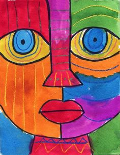 Abstract Face Watercolor