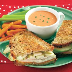 Grilled Turkey, Cheddar and Apple Sandwiches. Tart apple slices, tangy honey mustard and creamy Cheddar elevate this grilled turkey sandwich into a satisfying supper. The perfect side dish: a few carrot and celery sticks with salad dressing for dipping.   Sliced Granny Smith apples? Count me in on this one!