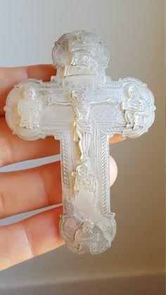 Ancienne espagnol à la main sculptée mère de perle Crucifix Croix Communion cadeau catholique Art religieux Art Première Communion Crucifix Art Nouveau