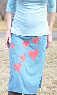 Reverse appliqué skirt made from men's extra large t-shirts