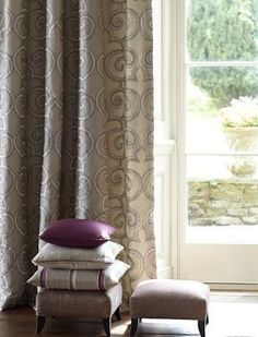 Parterre from James Hare's stunning Oriel collection. All actual products in promotional photo made my our seamstresses at Vanilla Interiors - and available from Vanilla Interiors, www.vanillainteriors.co.uk