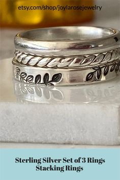 stacking rings with several styles metal stamps. Visit Joylarosejewelry.com Silver Opal Ring, Silver Stacking Rings, Opal Rings, Sterling Silver Rings, Twist Ring, Silver Gifts, Personalized Jewelry, Band Rings, Stamps