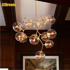 Restaurant glass chandelier lamps and lanterns of contracted and contemporary personality of creative designer lindsey light bar