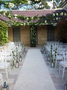 The Gunners Barracks, Mosman. A gorgeous courtyard for a ceremony. Wedding Venues Sydney, Wedding Receptions, Hanging Flowers, Ceremony Decorations, Blush Pink, Wedding Planner, Wedding Flowers, Pergola, Wedding Inspiration