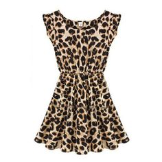SheIn(sheinside) Leopard Sleeveless Ruffles Pleated Chiffon Waist... ($8.99) ❤ liked on Polyvore