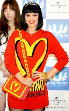 Katy Perry dons a bright red Moschino ensemble in Japan!