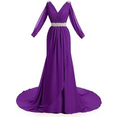 MariRobe Women's Greek Style Beaded Pleat Long Sleeve Chiffon Long... ($99) ❤ liked on Polyvore featuring dresses, purple cocktail dresses, long chiffon dress, beaded cocktail dress, long purple dress and long sleeve cocktail dresses