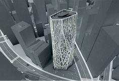 Fibrous Tower, a deep study into exoskeleton tower typologies