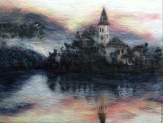 """Купить картина из шерсти  """"На Закате """" - комбинированный, пейзаж, пейзаж с водой, шерстяная акварель"""