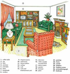 Learning the vocabulary for inside a living room using pictures