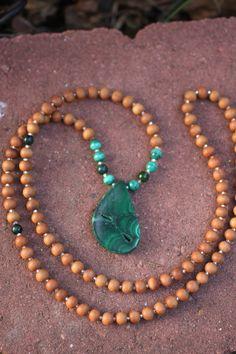 Malachite Sandalwood Mala Exclusive One-of-a-Kind - Meditation Inspired Yoga…