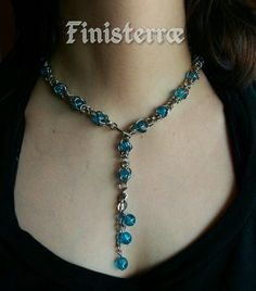 Byzantine necklace with captive beads and frontal closure by Finisterræ