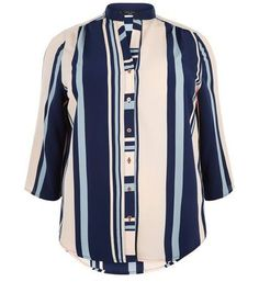 Fantastic Plus Size Blue Stripe Shirt