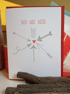 You are here. Letterpress love card.. $5.00, via Etsy.
