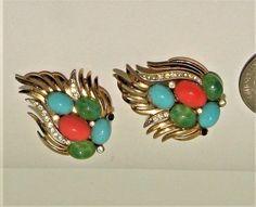 Vintage faux jade, coral , turquoise cabochon earrings rare CROWN TRIFARI  #crowntrifari