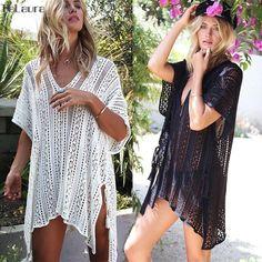a7e5b0d17b35c Beach Cover Up Bikini Crochet Knitted Tassel Beachwear