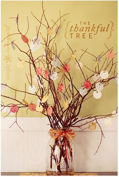 """We were thankful to find this """"Thankful Tree"""" over at Simply Vintage Girl this month. If you are looking for Thanksgiving home decor ideas, this one is at the top of our list. This simple project would make great table decor as a centerpiece, on your serving table, or tucked anywhere in the house. Full […]"""