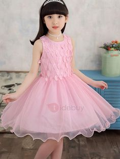 #TideBuy - #TideBuy Ladylike Leaf Bowknot Mesh Ball Gown Girls Dress - AdoreWe.com