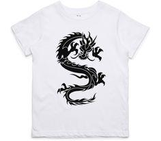 El Cheapo Curled Dragon (Black) Youth White T-Shirt