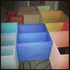 Color stained wood shelves