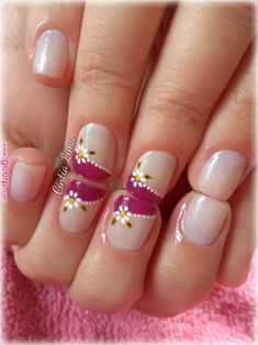 Nail patterns or nail art is an extremely hassle-free concept - patterns or art which is used to embellish the finger or toe nails. You can use them mostly to enhance a dressing up or improve a daily look. French Tip Nail Designs, Classy Nail Designs, Pink Nail Designs, French Tip Nails, Nail Manicure, Manicures, Toe Nails, Super Cute Nails, Pretty Nails