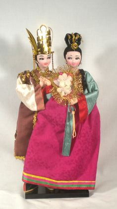 Vintage Traditional Korean Silk Dolls