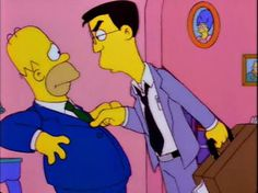 """""""Homer's Enemy"""" Homer's dimwitted attitude and impossible success comes to bluff and drive Frank Grimes insane who has worked his whole life to better himself. Grimes is very out of place and reflects the real world observation of the Simpsons."""