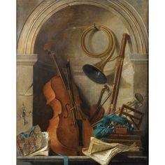 Nicolas-Henry Jeaurat de Bertry (Paris 1725 - 1796). Nature morte en trompe l'oeil aux instruments aux instruments de musique au livret de castor et pollux de rameau. 66 1/2 by 54 1/2 in.